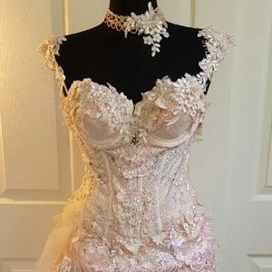 Custom Order Blush & Ivory Corset Wedding Gown Set